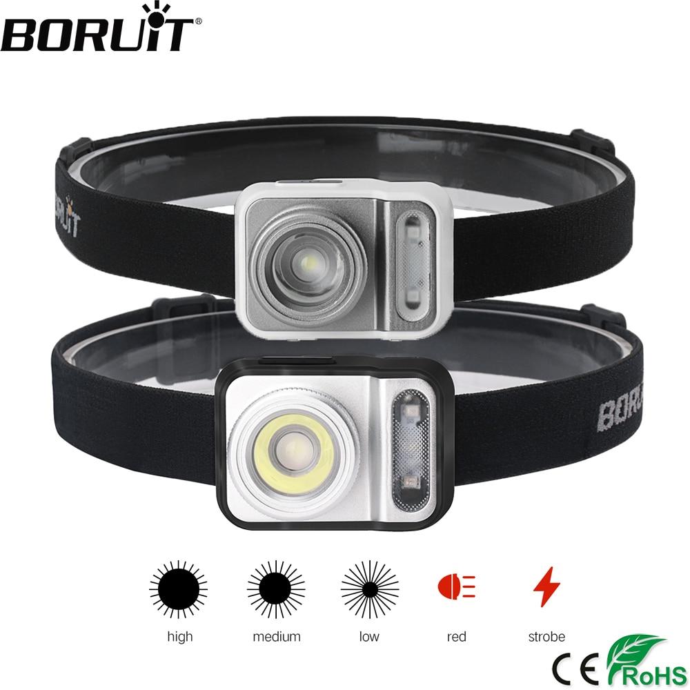 BORUiT B36 XP-G2+2*3030 Red Light LED Mini Headlamp 5-Mode Zoom Headlight AAA Battery Head Torch Hunting Camping Lighting
