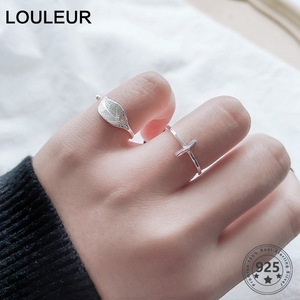 Image 3 - New 925 Sterling Silver simple leaf/cross ring female small fresh leaf rings adjustable forefinger fashion silver 925 jewelry
