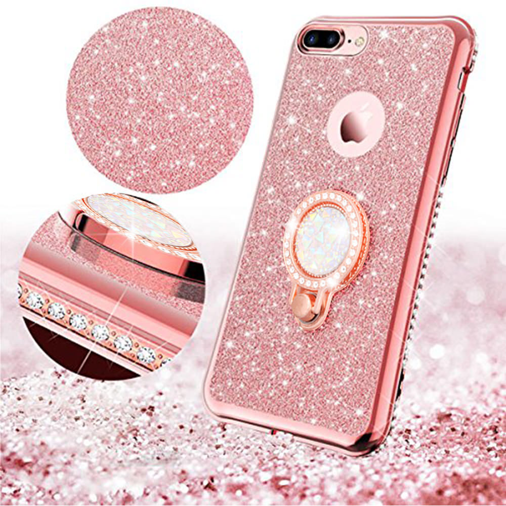 Luxury Diamond Female Lanyard Shockproof Case For iPhone Xr 11 Pro Xs Max X 8 7 Plus 6 6s 5 5s SE 2020 Ring Holder Logo Cover