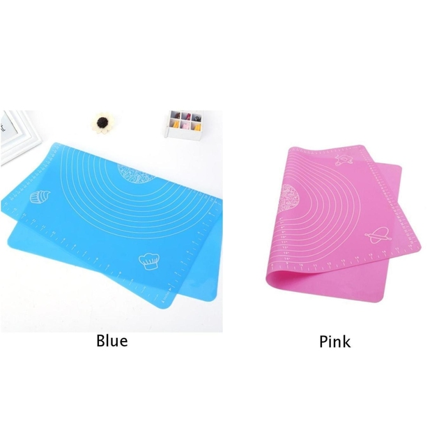 Silicone Dough Rolling Mat Blue/Pink For Cake Bread Pizza Oven Microwave Durable