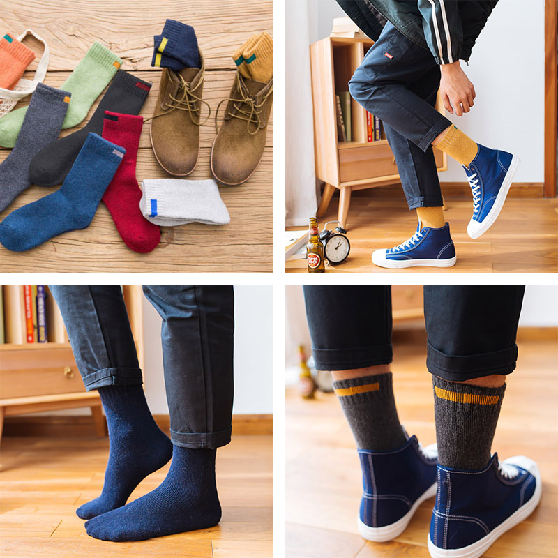 Downstairs Winter Warm Merino Wool Socks Men 11 Colors Eur38-44 With Cloth Strip Designer Solid Cashmere Thermal Calcetines