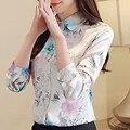 Женские блузки, хлопковые топы и блузки для женщин, цветочные женские рубашки с длинным рукавом, зеленые/Белые блузы размера плюс XXL Blusa Feminina - фото