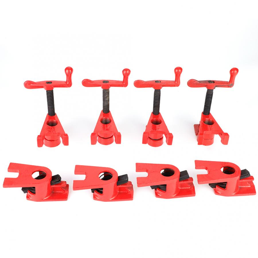 4 Set 3/4'' Quick Release Heavy Duty Wide Base Iron Wood Metal Clamp Set Woodworking Workbench