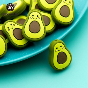 silicone avocado bead silicone teething toys teether for teeth(China)