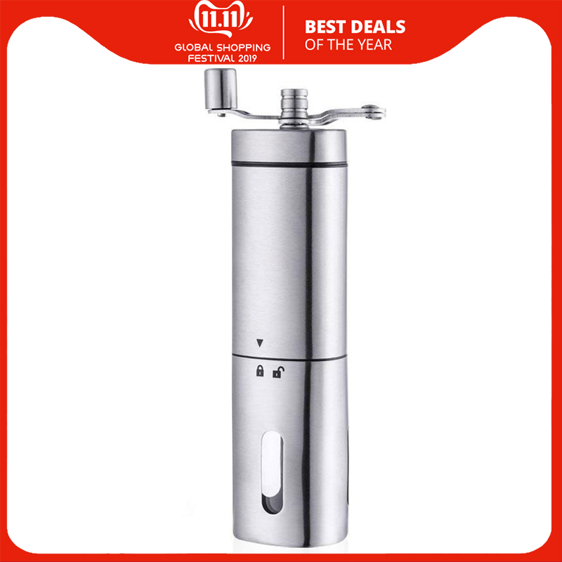 Manual Coffee Grinder - Premium Portable Stainless Steel Conical Ceramic Burr Mill With Quiet Grinding Mechanism, 40G Capacity