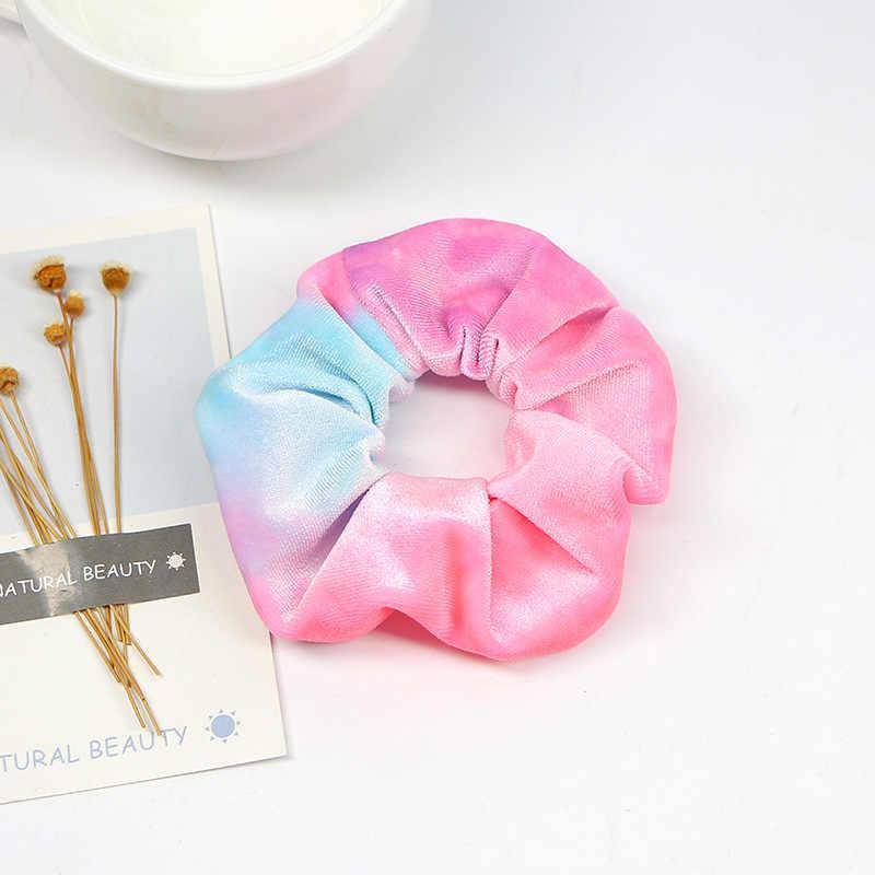 1Pcs Baru Sederhana Patchwork Pengikat Rambut Halus Beludru Rainbow Tali Cetak Floral Rambut Scrunchies untuk Wanita Hai... Accesorios Panas