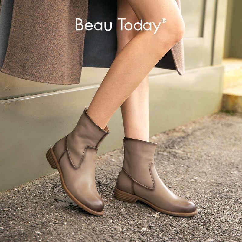 BeauToday yarım çizmeler kadın hakiki inek deri ağda yuvarlak ayak geri fermuarlı bayan moda çizmeler el yapımı 03639