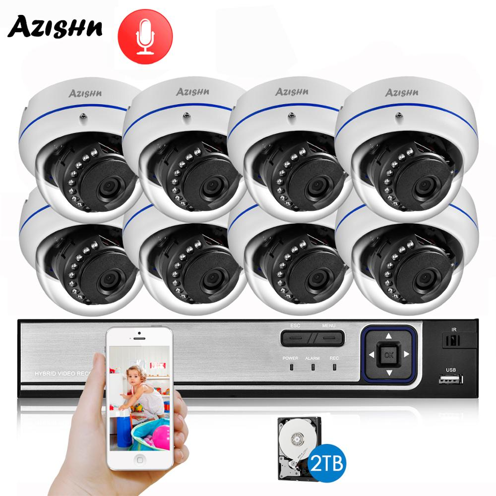 AZISHN Explosion-proof H.265 8CH 4MP POE Security Camera System NVR Kit Audio IP Camera Indoor Outdoor CCTV Surveillance NVR Set