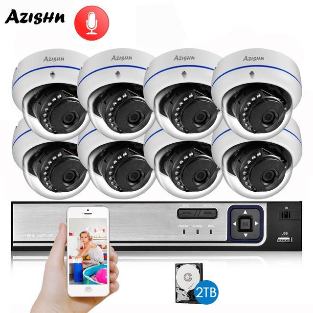AZISHN واقية من الانفجار H.265 8CH 3MP POE الأمن نظام الكاميرا طقم NVR الصوت IP كاميرا داخلي في الهواء الطلق CCTV المراقبة NVR مجموعة