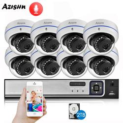 AZISHN explosieveilige H.265 8CH 4MP POE Bewakingscamera NVR Kit Audio IP Camera Indoor Outdoor CCTV Surveillance NVR Set