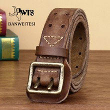 [DWTS]Genuine Leather Belt Men Luxury Strap Male Belt New Fashion Wild Prevent Allergies Retro Double pin buckle High Quality