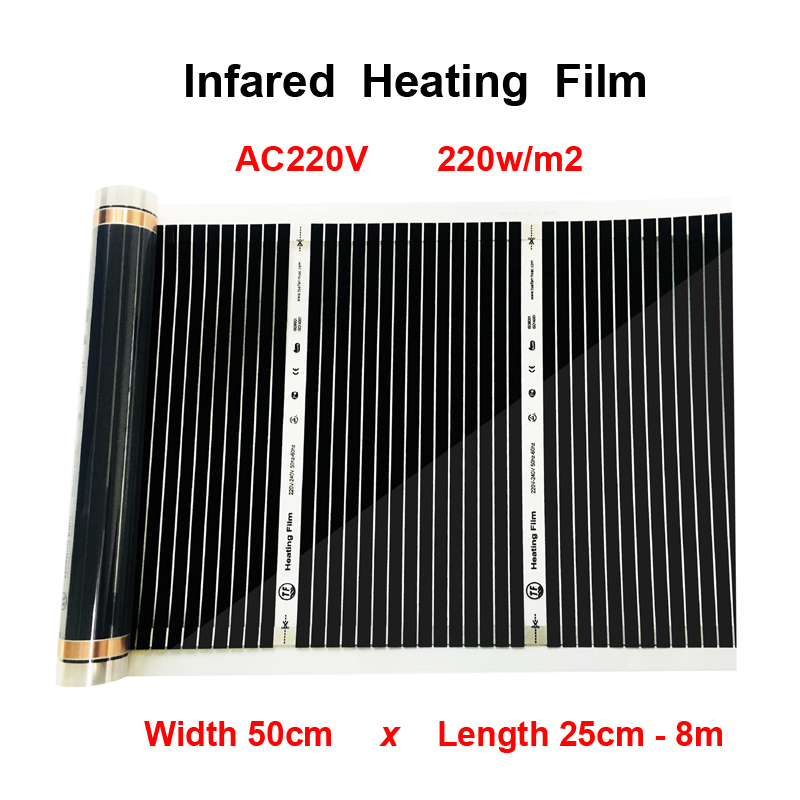 220W/M2 Far-Infrared Electric Floor Heating Film AC220V 50cm Width All Size Warming Mat Suitable For Floor Ceiling Wall