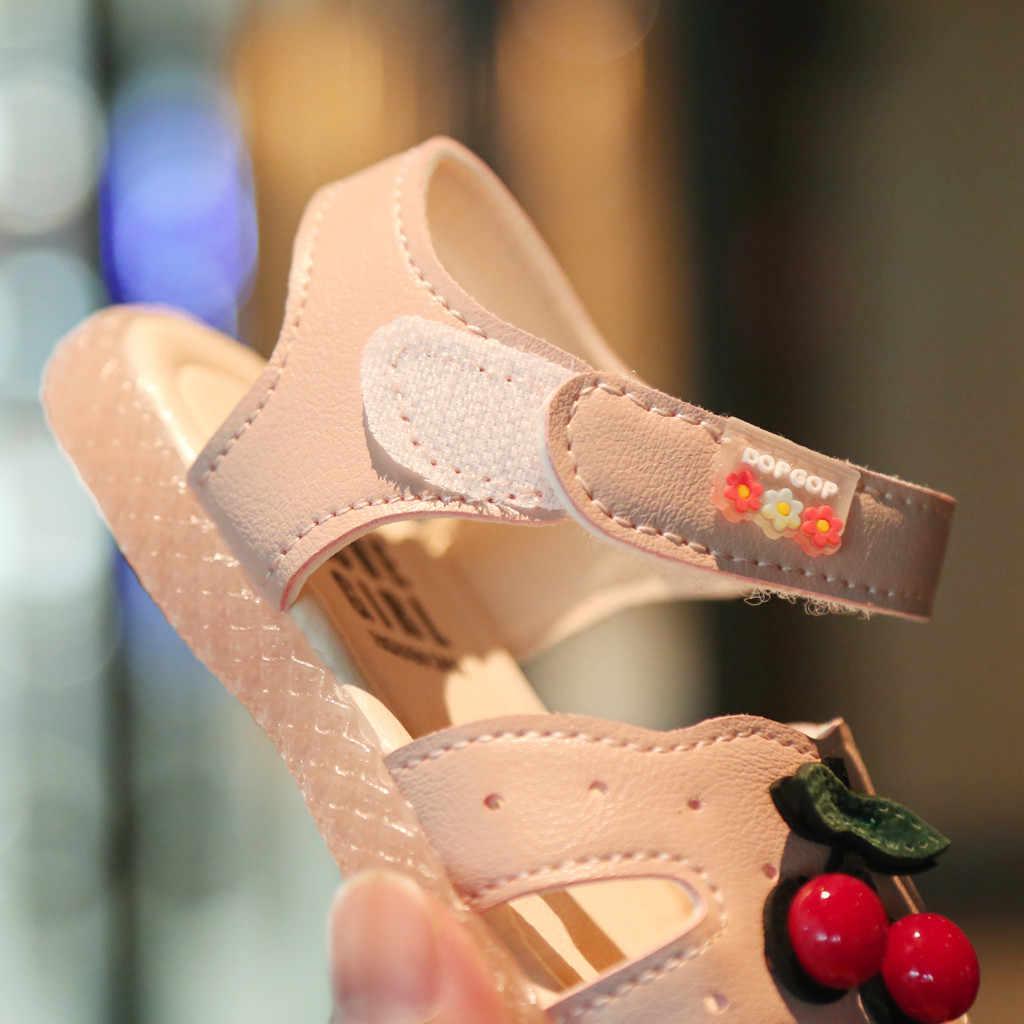 Verão sandálias do bebê para meninas da criança infantil crianças bebê meninas cereja princesa fechado toe sapatos sandálias princesa caminhantes