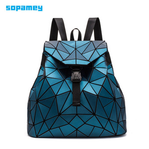 Image 1 - 2019 Fashion Matte Women Backpack Female Black Backpacks Daily Backpack For Girls Geometry Luminous Bagpack Noctilucent Bags Sac