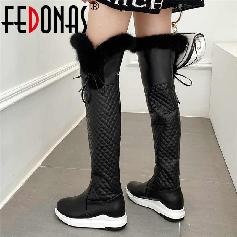 FEDONAS klasik kış sıcak uzun çizmeler Pu deri kadın diz çizmeler üzerinde parti rahat ayakkabılar kadın binici çizmeleri Platform çizmeler