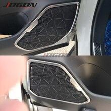 실버 & 블랙 S.Steel 자동차 내부 도어 오디오 스피커 커버 도요타 RAV4 2019 2020 자동차 코너 사운드 프레임 트림 보호