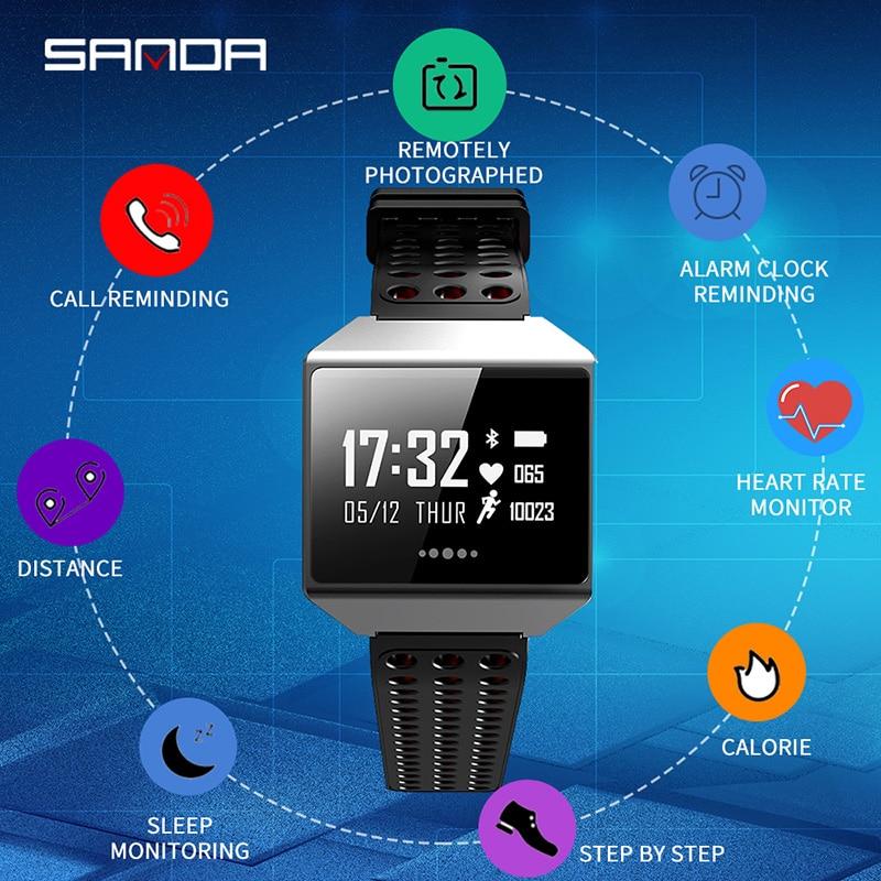 SANDA CK12 Smart Horloge Gehard Glas IP67 Waterdichte Hartslagmeter Bloeddruk Smartwatch Voor IOS Android Mannen Vrouwen