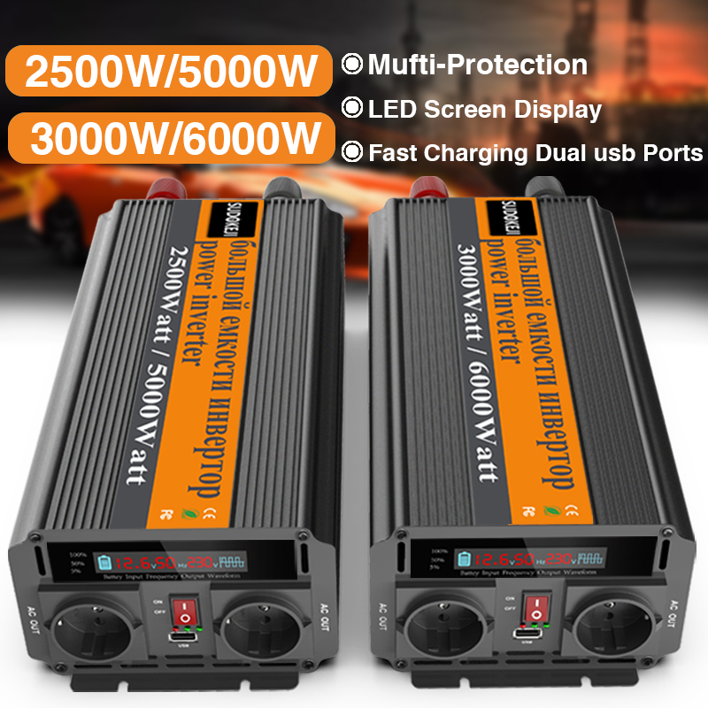 AC 220V-240V Dingln 5000W Car Power Inverter DC 12V To AC Modified Sine Wave With Data Display Universal Socket USB Interface