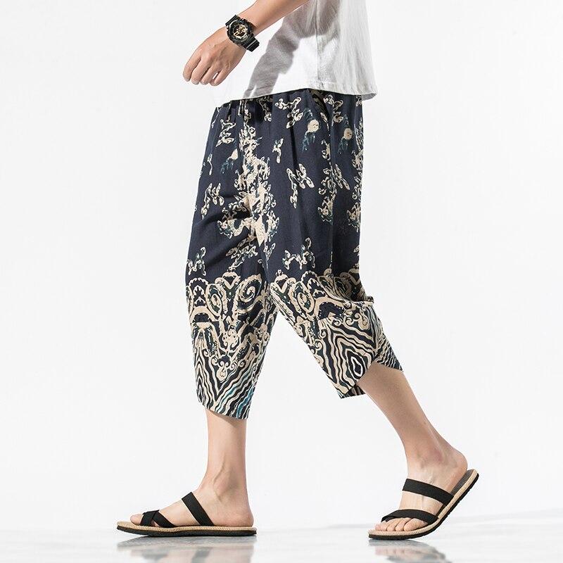 Mens Japanese Harajuku Style Loose Dragon Printing Sweatpant Beach Casual 2020 Summer Harem Pants Streetwear Trouser Male