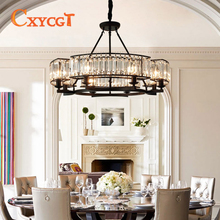 Vintage Crystal Black Attic Wrought Iron Decorative Chandelier for Restaurant Bedroom Lights