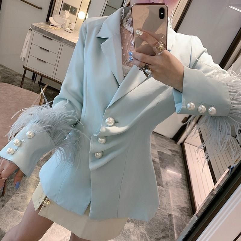 Pearl Button Feather Cuff Office Blazer Suit Women Outfit Single Breasted Long Sleeve Luxury Coat