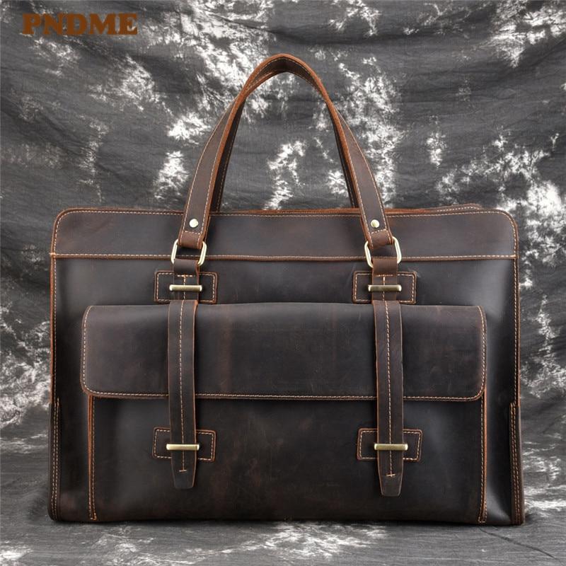 PNDME Vintage High Quality Genuine Leather Men's Briefcase Large Capacity Cowhide Business  Messenger Bags Handbag Computer Bag