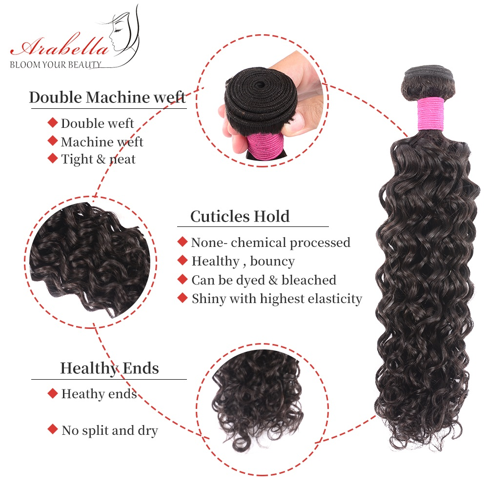 Water Wave Hair Bundles With Lace Frontal Pre Plucked Bleached Knots Arabella Natural  Hair Frontal With Bundles 3