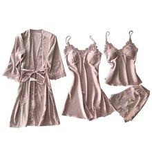 4 Pcs/set Women Pajamas Sets Satin Sleepwear Silk Nightwear Pyjama Spaghetti Strap Sleep
