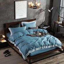 Evich Plain New Home Textile 100% Cotton Four-piece Set Solid Color Double Bed Extra Large Quilt Duvet Cover Sheet Bedding
