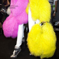 Ethel Anderson Women's Real Mongolia Fur Handbags Lamb Fur Totes Bag Man made Shoulder Bag Lady Simple Style Hand Bags
