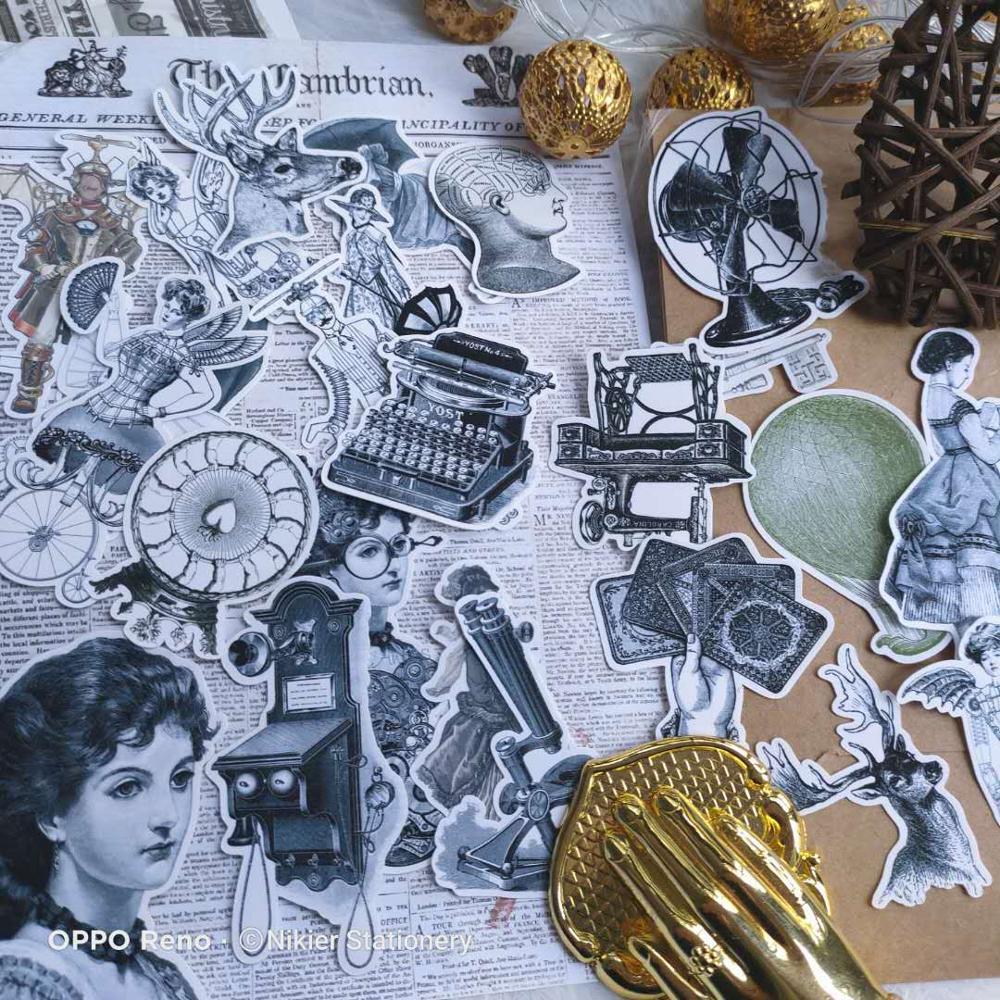 25 PCS \ SET Retro Western Woman Black White Typewriter Beauty Deco Stickers DiaryDiy Scrapbook Stickers Bullet Journal Stickers
