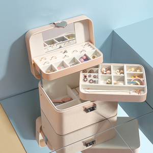 Image 2 - Casegrace גדול אוטומטי תכשיטים עם מנעול מעולה שלוש שכבה עור עגילי אחסון ארון נייד אופנה אריזת מתנה