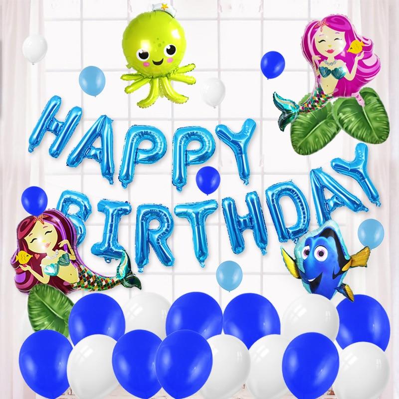 Petite sirène fête fournitures sirène ballon bannière décoration sirène fête d'anniversaire faveurs enfants fêtes d'anniversaire décorations