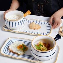 Ручная роспись столовые тарелки набор тарелка для завтрака десертная