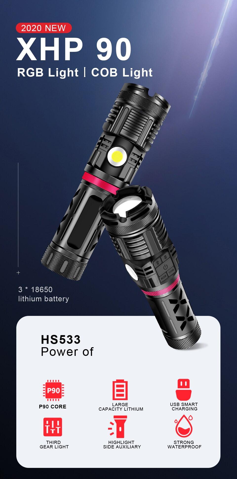 cob flash luz 18650 recarregável tático à