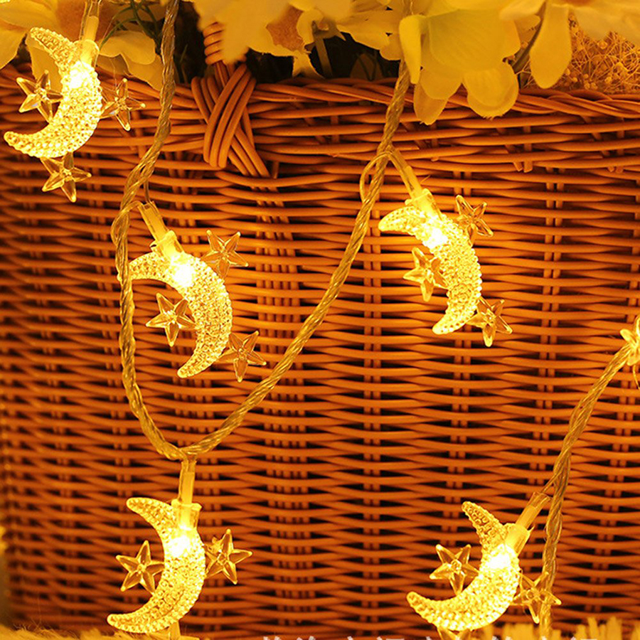 Holiday Party Decor String Light 10/20/30/40 LED Star Moon Fairy String Light Christmas Wedding Birthday Outdoor Decor Lamp