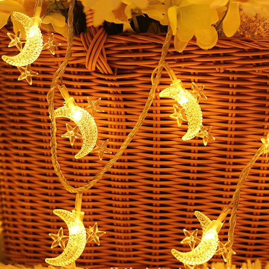 Holiday Party Decor String Light 10/20/30/40 LED Star Moon Fairy String Light Christmas Wedding Birthday Outdoor Decor Lamp