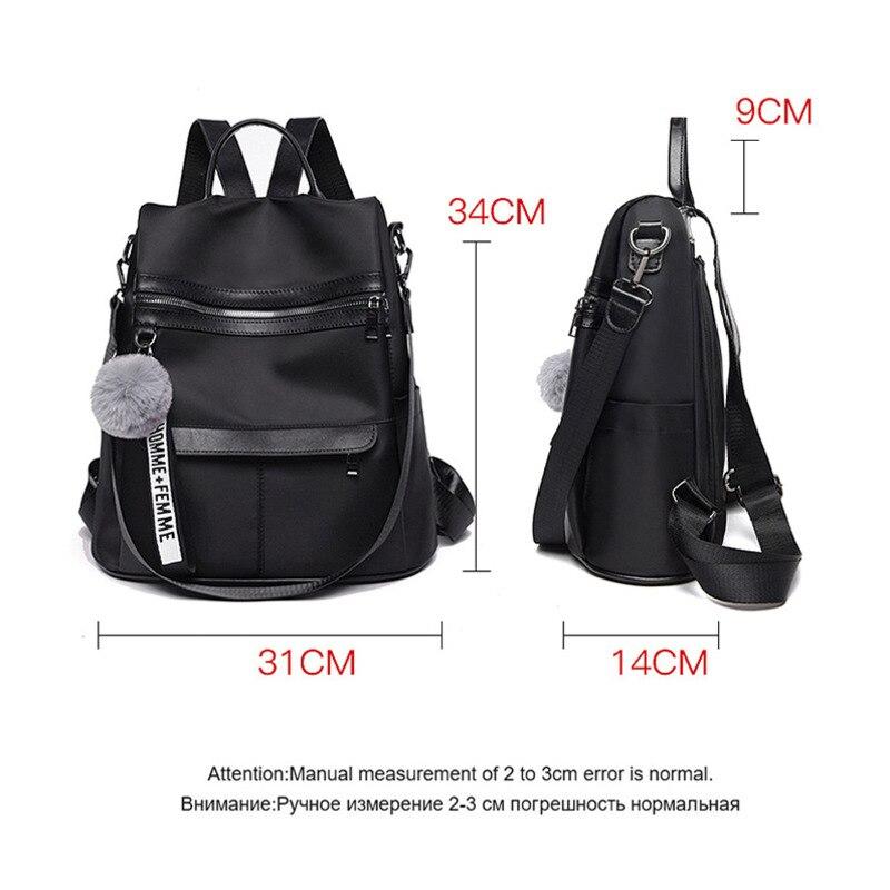 Водонепроницаемый рюкзак из ткани Оксфорд с защитой от кражи, простая ветрозащитная сумка для колледжа, молодежный рюкзак для девушек, подарок с подвеской в виде шарика для волос, 2020-1