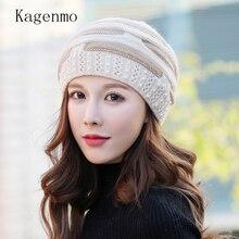 Kagenmo, вязаная шерстяная шапка из кроличьей шерсти, шапка для мамы среднего возраста, осенняя и зимняя шапка для мамы