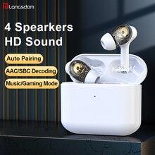 Langsdom – écouteurs de jeu sans fil TWS, avec micro, SBC, AAC, Bluetooth, avec étui de Charge, pour smartphones