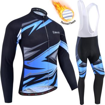 BXIO Winter Cycling Clothing for Mens,Thermal fleece Bike Wear Long sleeves and Bib Tights 200