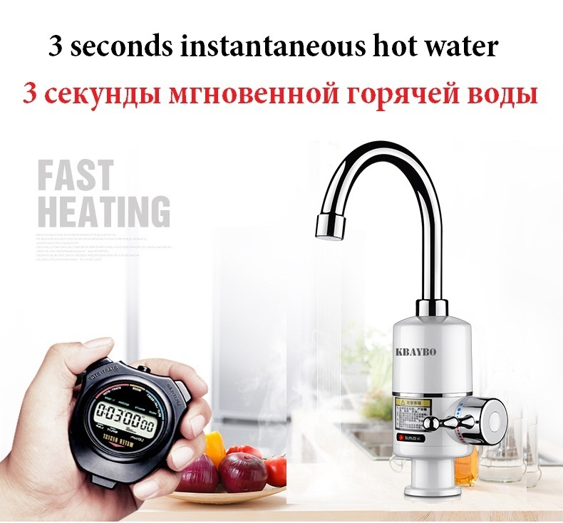 Electric Water Heater 3000W Tankless Faucet Water Heater Instant Tap Kitchen Electric Faucet Instant Hot 3 Seconds Heating