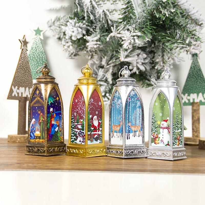 Candle Light Vintage Durable Home Decor Xmas Ornaments Lantern Creative Coloured Drawing Warm White For Tree Ornament