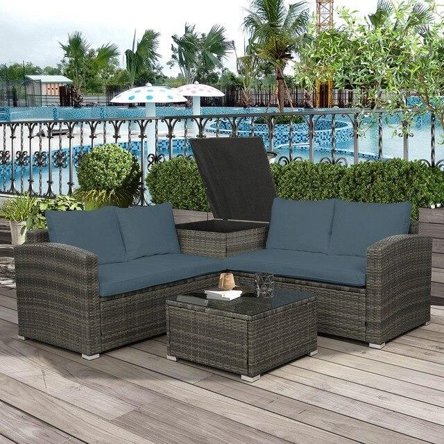 4 PCS Outdoor Cushioned PE Rattan Wicker Sectional Sofa Set 4