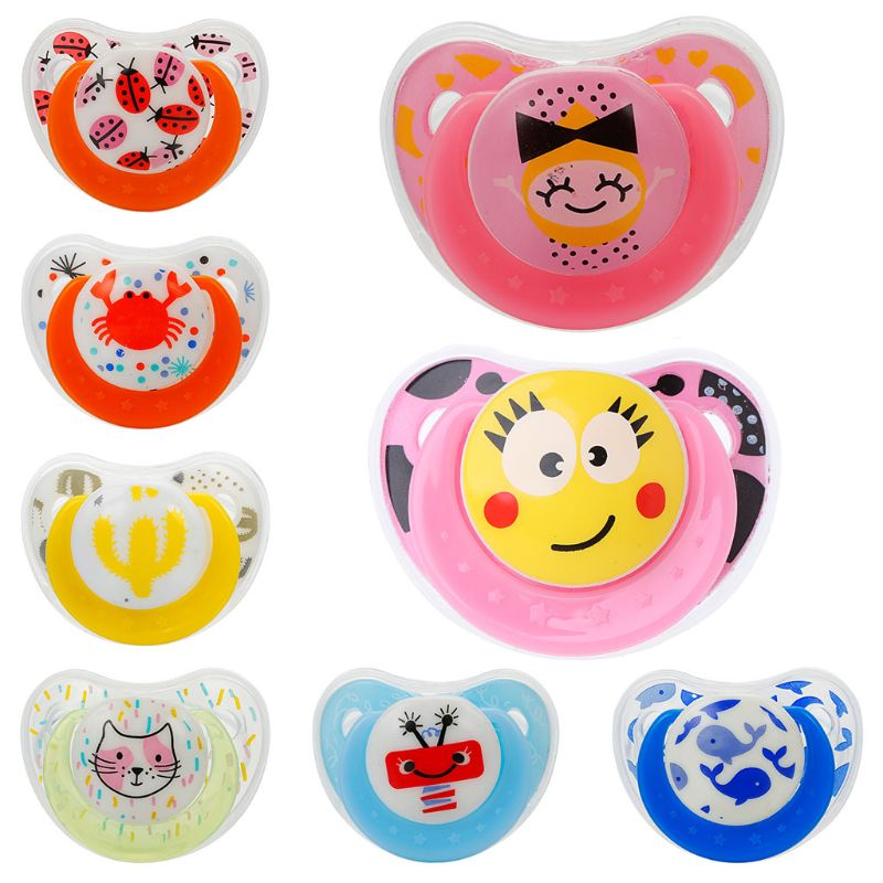 2019 New Baby Pacifier Silicone With Lid Butterfly Round Flat Printing Pattern Infant Sleep Appease Nipple 19QF
