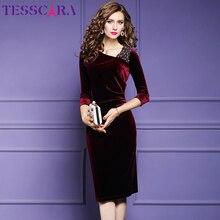 TESSCARA kadınlar lüks boncuk kadife elbise dresses kadın zarif olay parti elbise yüksek kaliteli tasarımcı Vintage kokteyl Vestidos