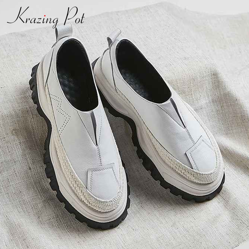 Krazing Pot 2019 cow leather British school preppy style thick bottom non slip sneakers round toe slip on vulcanized shoes L63-in Women's Vulcanize Shoes from Shoes    1