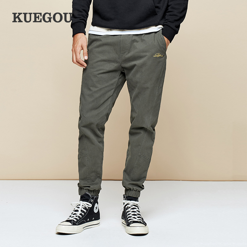 Kuegou Man Beam Foot Straight Leg Trousers Overalls Winter Leisure Fashion Han Edition Cultivate One's Morality UK-0948