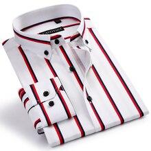 Men's Standard-fit Designer Smart Casual Dress Shirts Comfortable Cotton Long Sleeve Button-collar Contrast Bold Striped Shirt