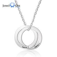 Personalizado círculo de aço inoxidável colares para mulheres nome personalizado pingente colar jóias presente do dia dos namorados (ne103037)